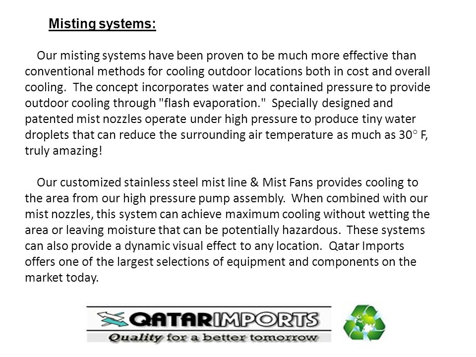Misting systems: