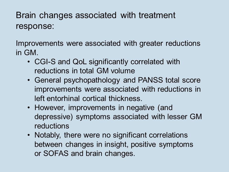 Brain changes associated with treatment response:
