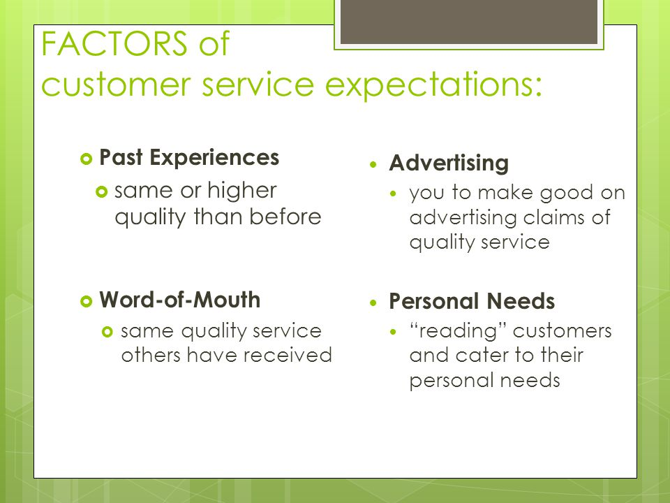 FACTORS of customer service expectations: