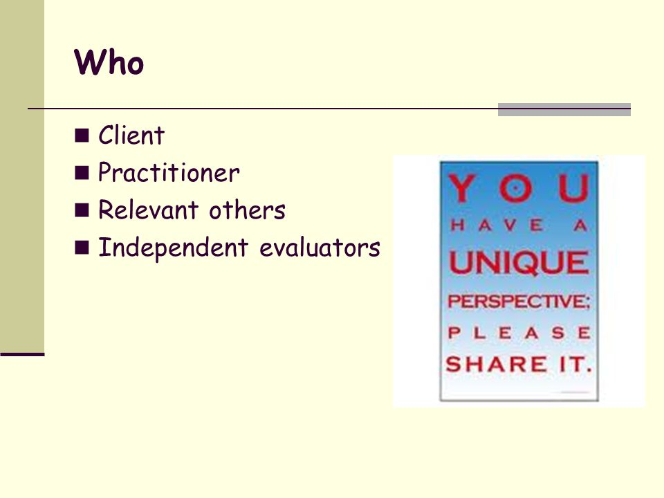 Who Client Practitioner Relevant others Independent evaluators