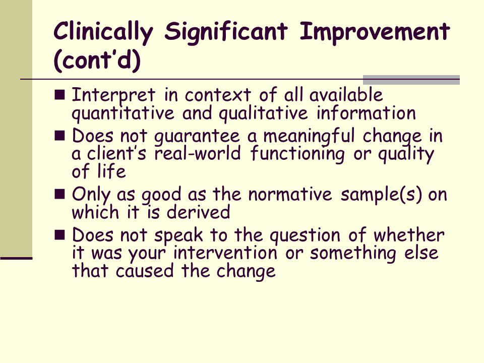 Clinically Significant Improvement (cont'd)
