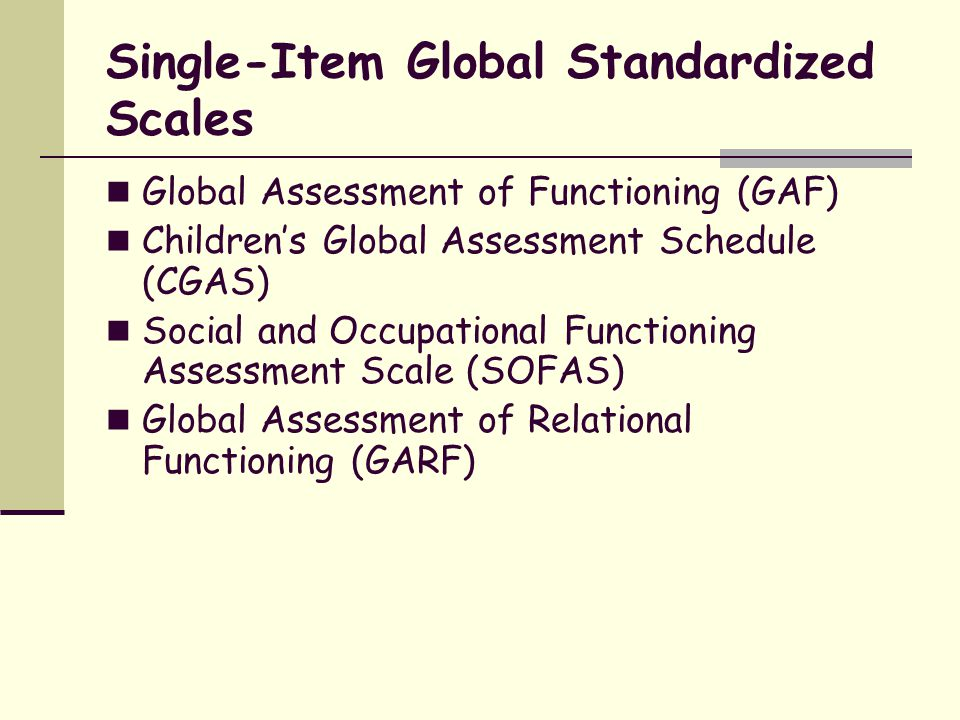 Single-Item Global Standardized Scales