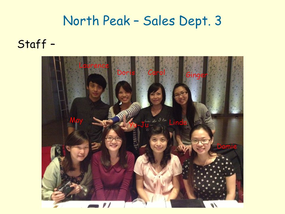 North Peak – Sales Dept. 3 Staff – Laurence Doris Carol Ginger May