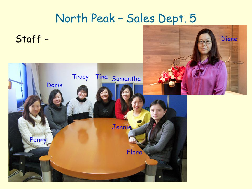 North Peak – Sales Dept. 5 Staff – Diane Tracy Tina Samantha Doris