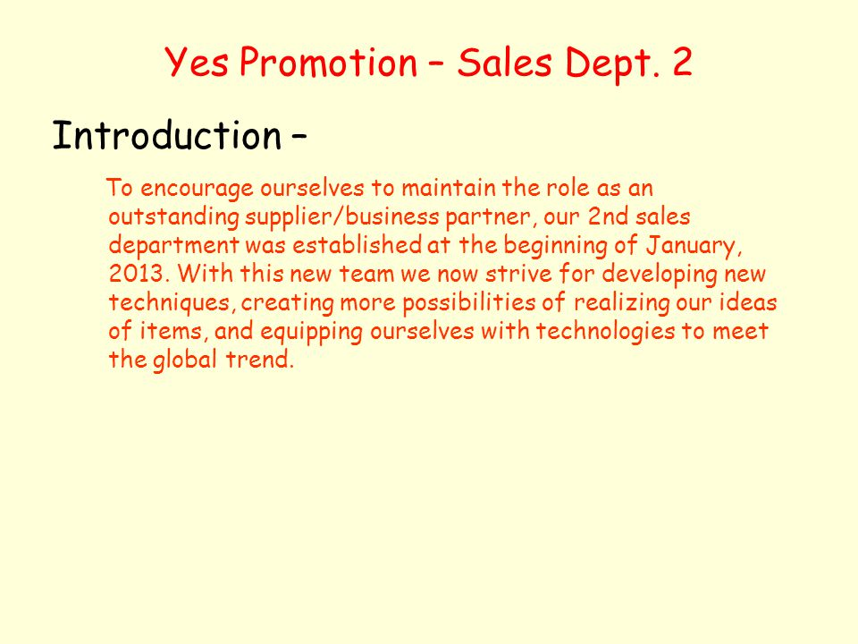 Yes Promotion – Sales Dept. 2