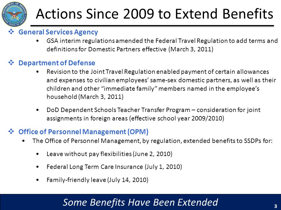 Actions Since 2009 to Extend Benefits