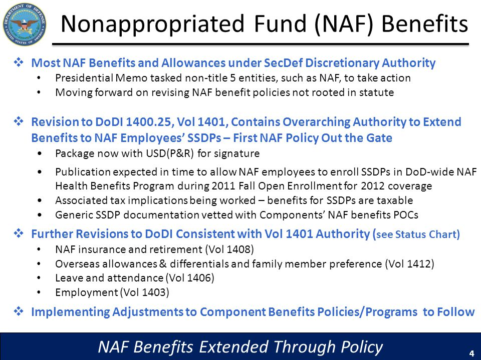 Nonappropriated Fund (NAF) Benefits