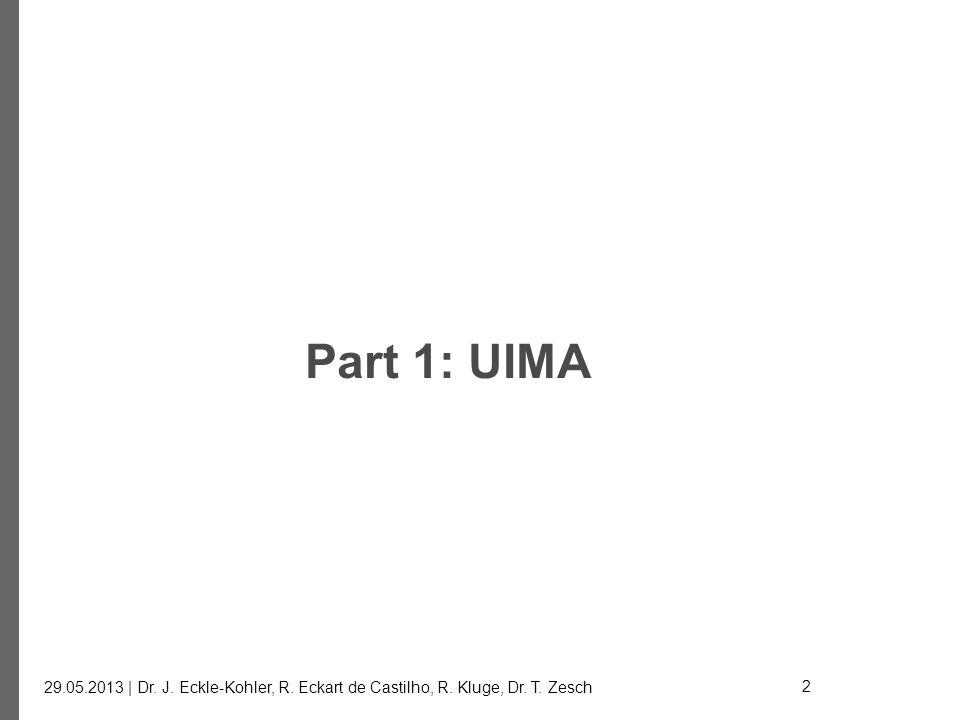 Part 1: UIMA 29.05.2013 | Dr. J. Eckle-Kohler, R. Eckart de Castilho, R. Kluge, Dr. T. Zesch