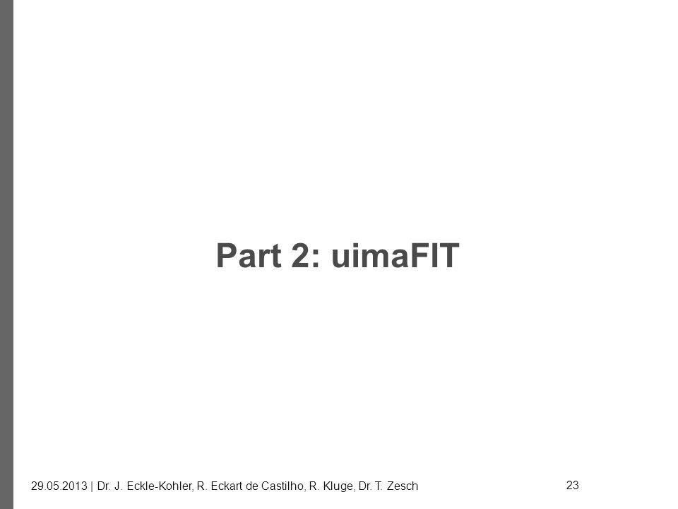 Part 2: uimaFIT 29.05.2013 | Dr. J. Eckle-Kohler, R. Eckart de Castilho, R. Kluge, Dr. T. Zesch