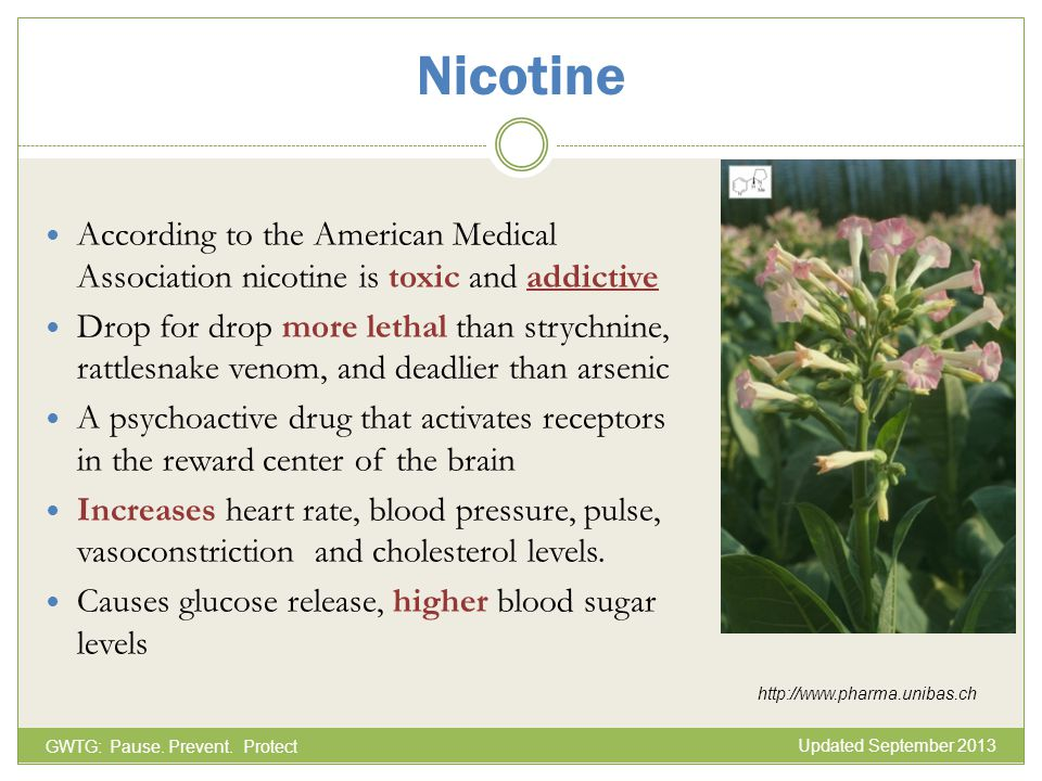 Nicotine According to the American Medical Association nicotine is toxic and addictive.