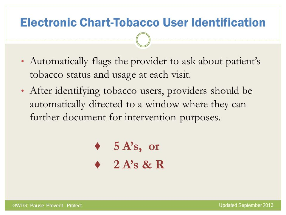 Electronic Chart-Tobacco User Identification