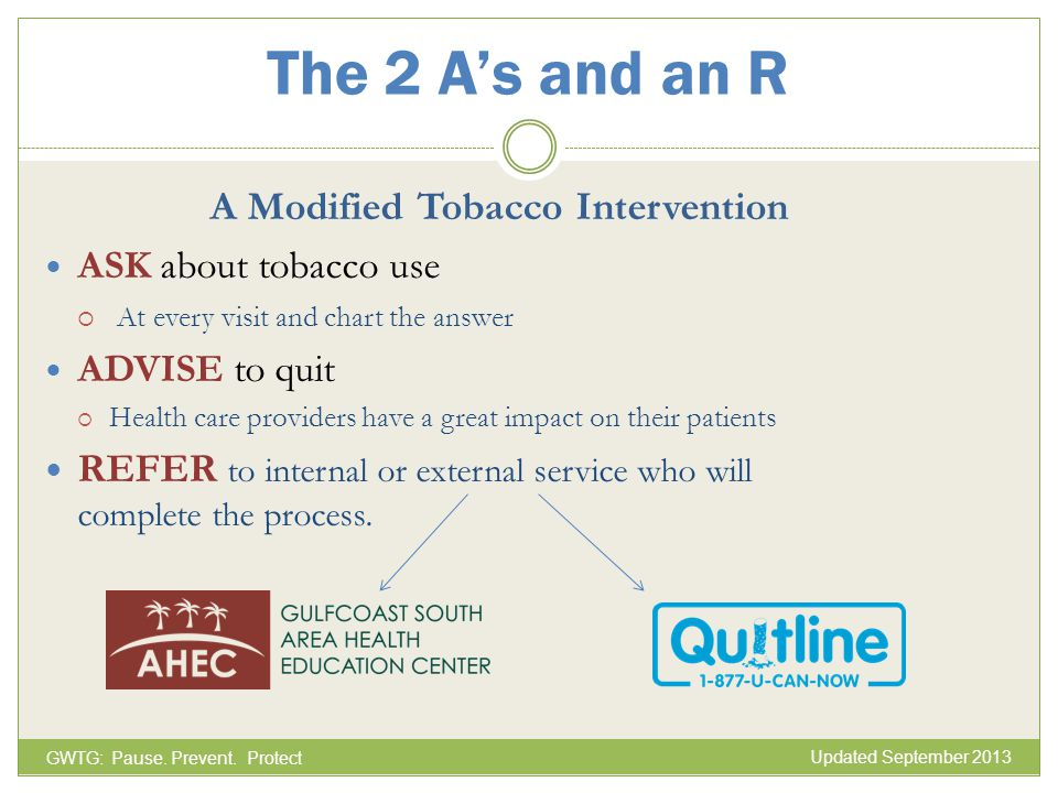 The 2 A's and an R A Modified Tobacco Intervention
