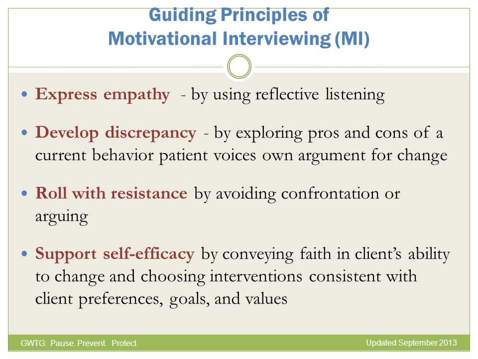 Guiding Principles of Motivational Interviewing (MI)
