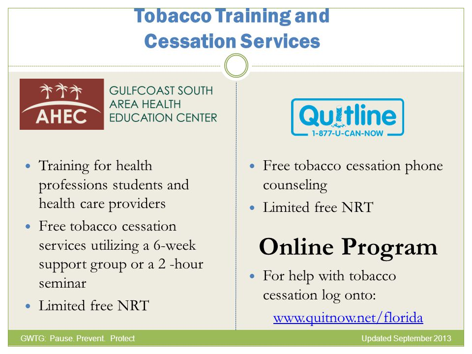 Tobacco Training and Cessation Services