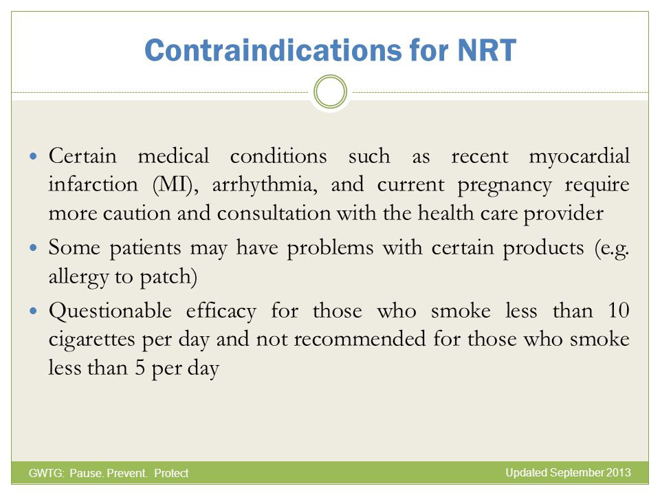 Contraindications for NRT