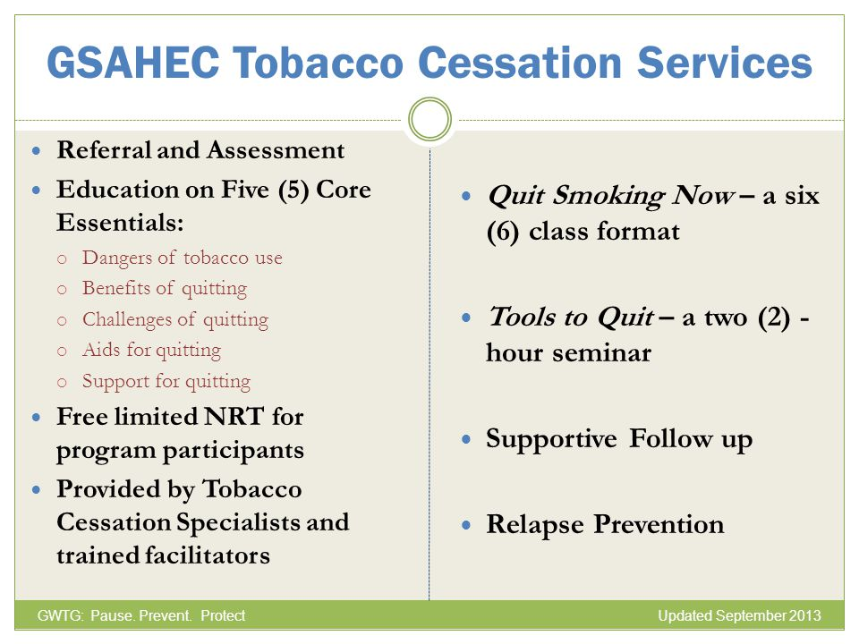 GSAHEC Tobacco Cessation Services