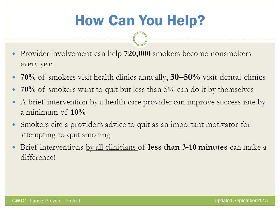 How Can You Help Provider involvement can help 720,000 smokers become nonsmokers every year.