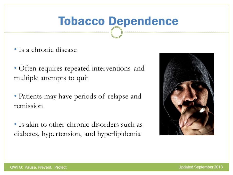 Tobacco Dependence Is a chronic disease