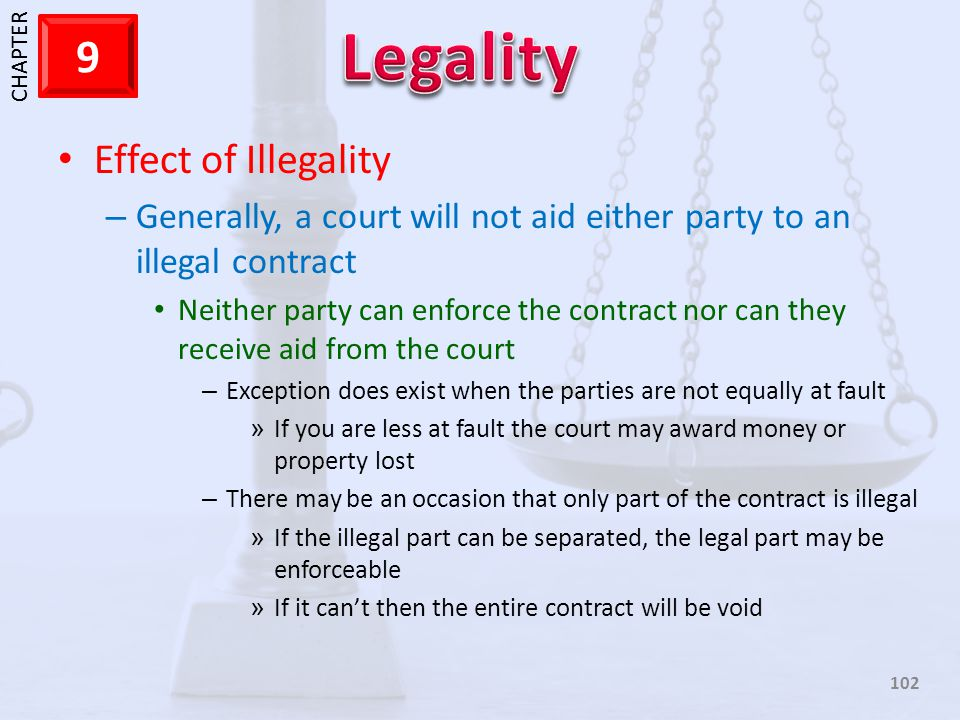 Effect of Illegality Generally, a court will not aid either party to an illegal contract.