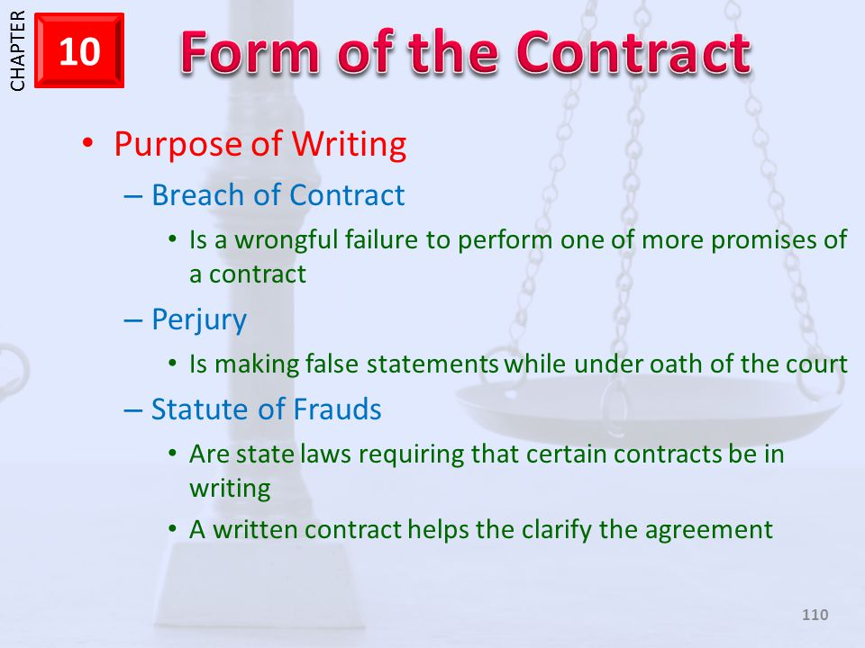 Purpose of Writing Breach of Contract Perjury Statute of Frauds