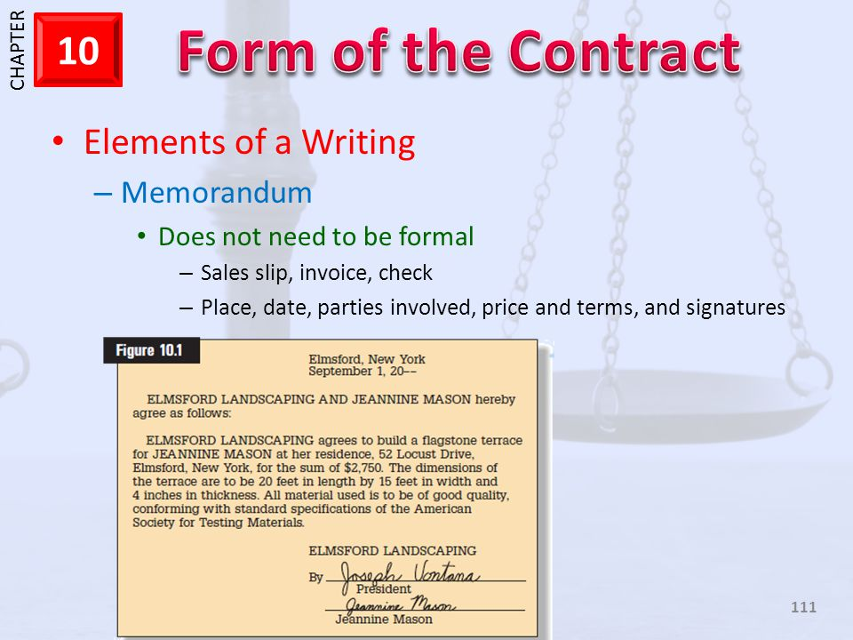 Elements of a Writing Memorandum Does not need to be formal