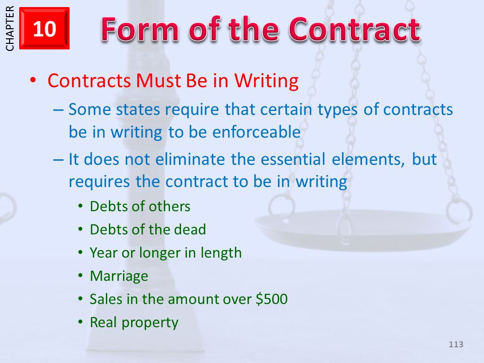 Contracts Must Be in Writing