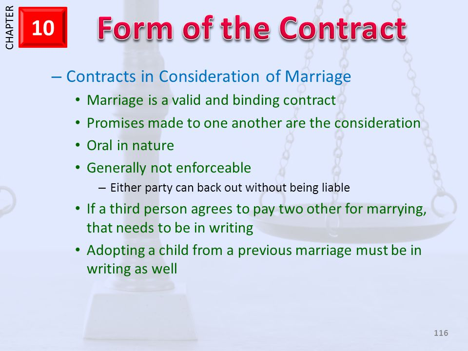 Contracts in Consideration of Marriage