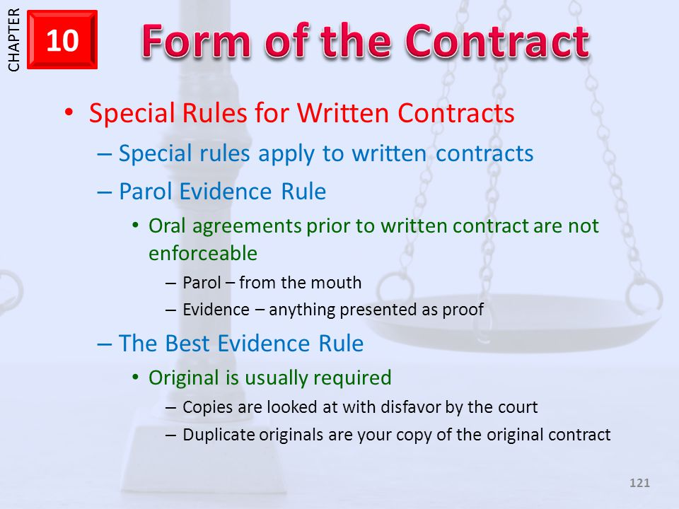 Special Rules for Written Contracts