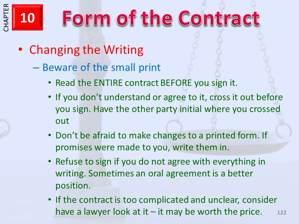 Changing the Writing Beware of the small print
