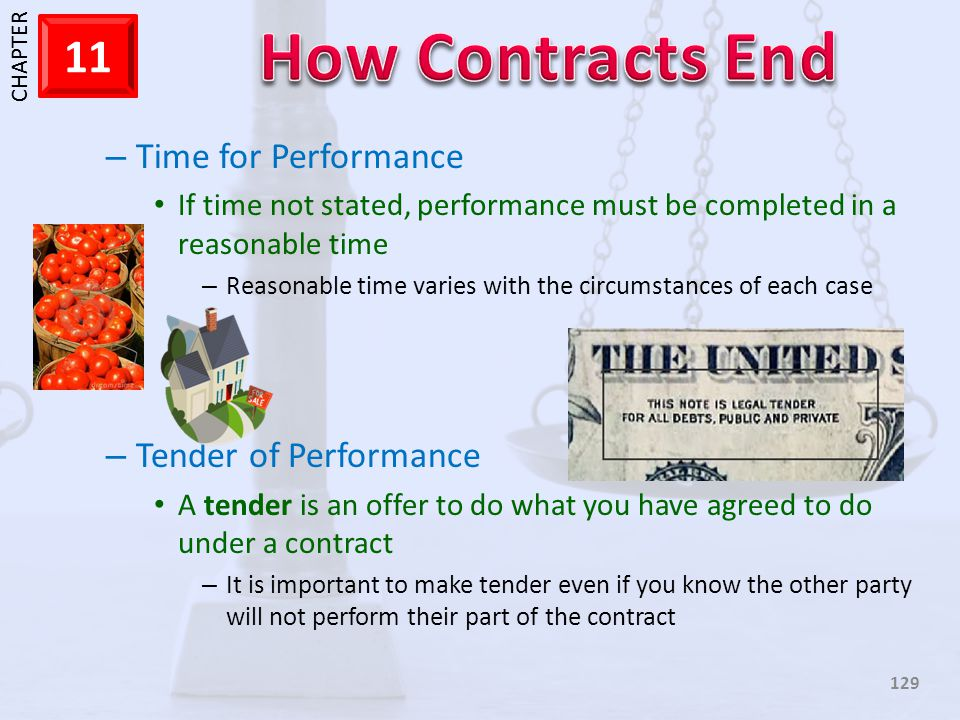 Time for Performance Tender of Performance
