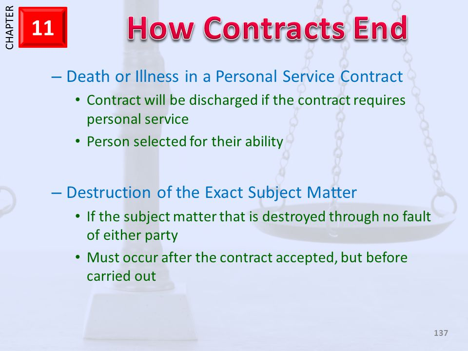 Death or Illness in a Personal Service Contract