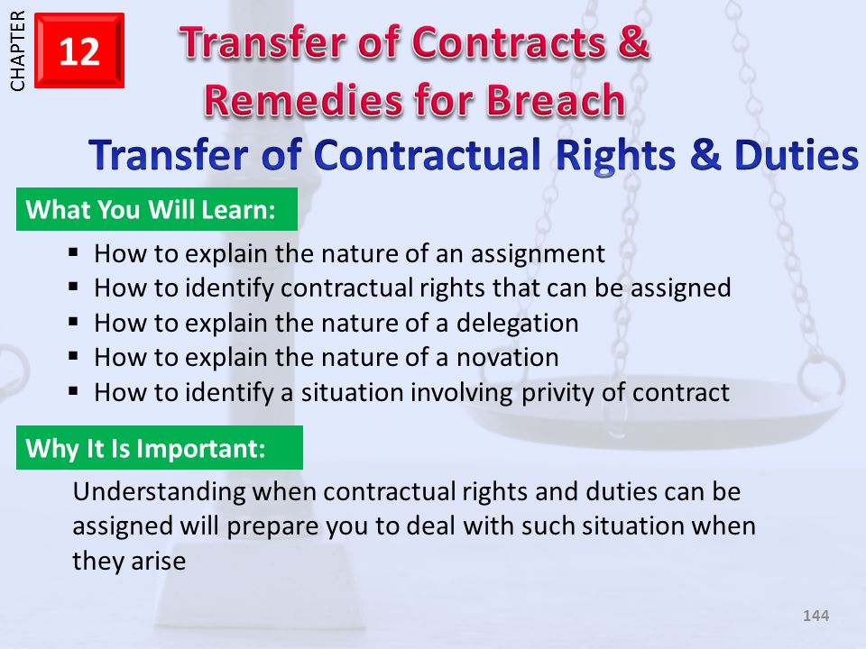 Transfer of Contractual Rights & Duties
