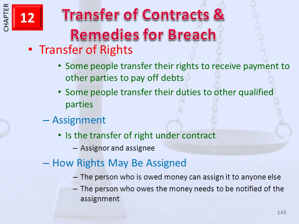 Transfer of Rights Assignment How Rights May Be Assigned