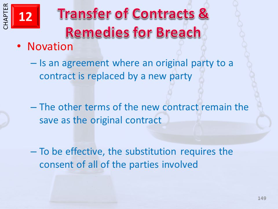 Novation Is an agreement where an original party to a contract is replaced by a new party.
