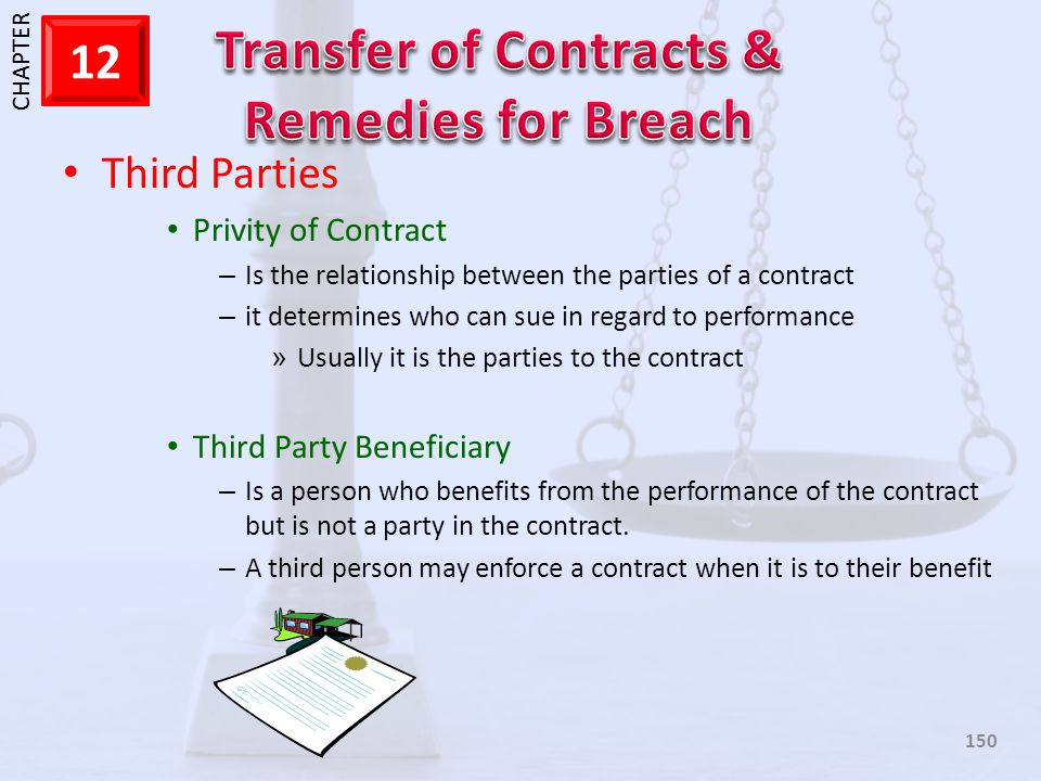 Third Parties Privity of Contract Third Party Beneficiary