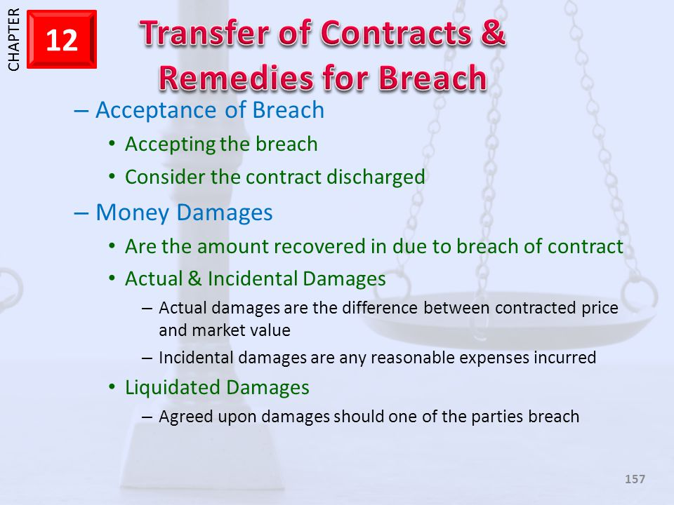 Acceptance of Breach Money Damages Accepting the breach