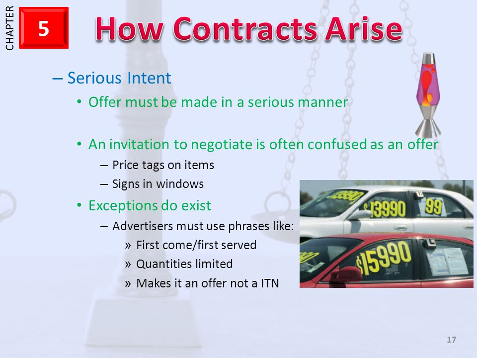 Serious Intent Offer must be made in a serious manner