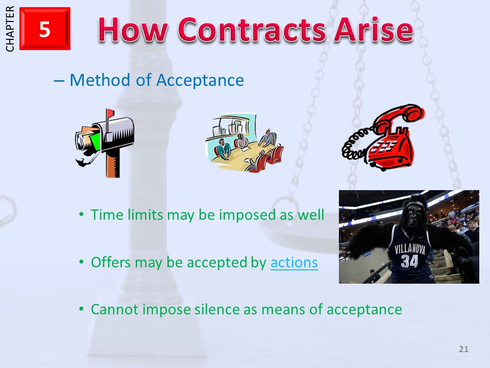 Method of Acceptance Time limits may be imposed as well
