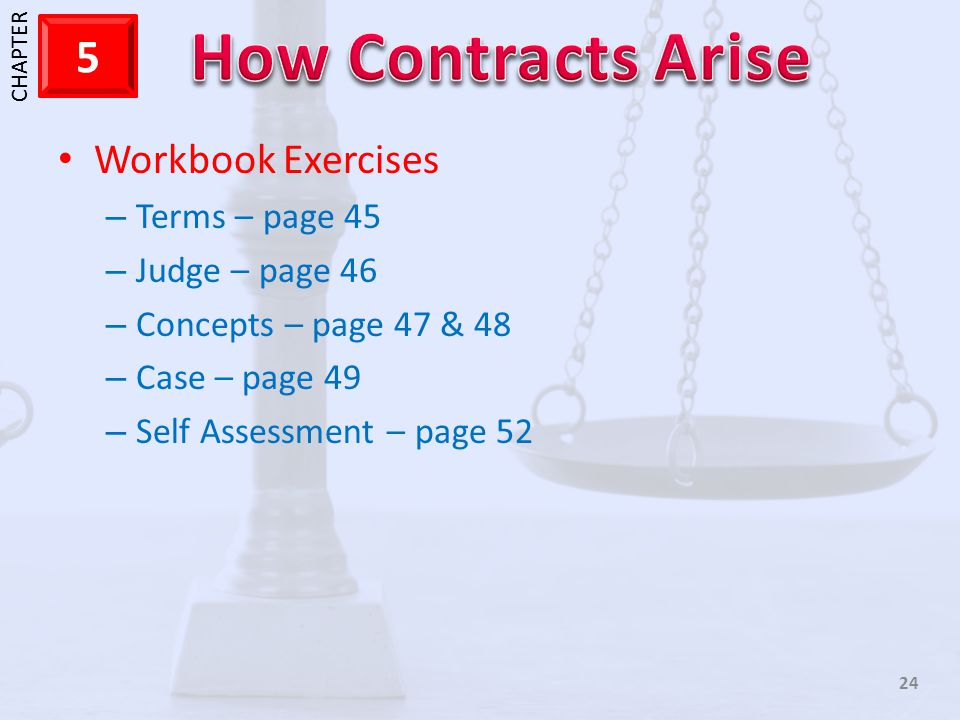 Workbook Exercises Terms – page 45 Judge – page 46