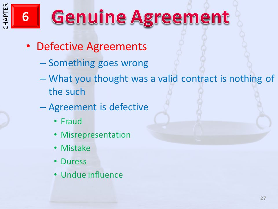 Defective Agreements Something goes wrong