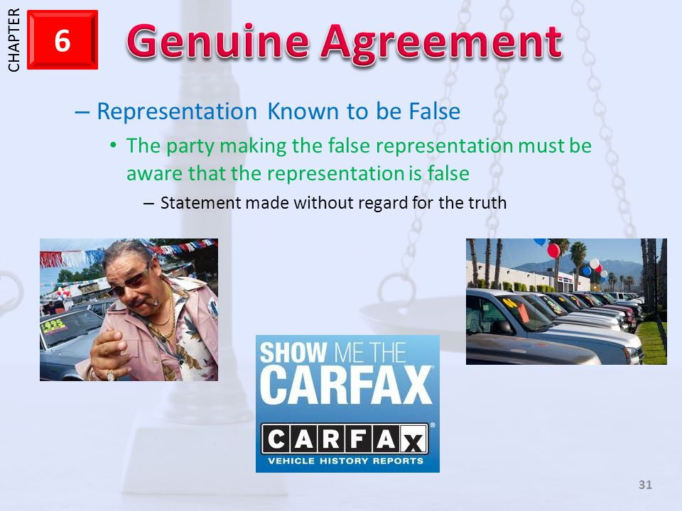 Representation Known to be False