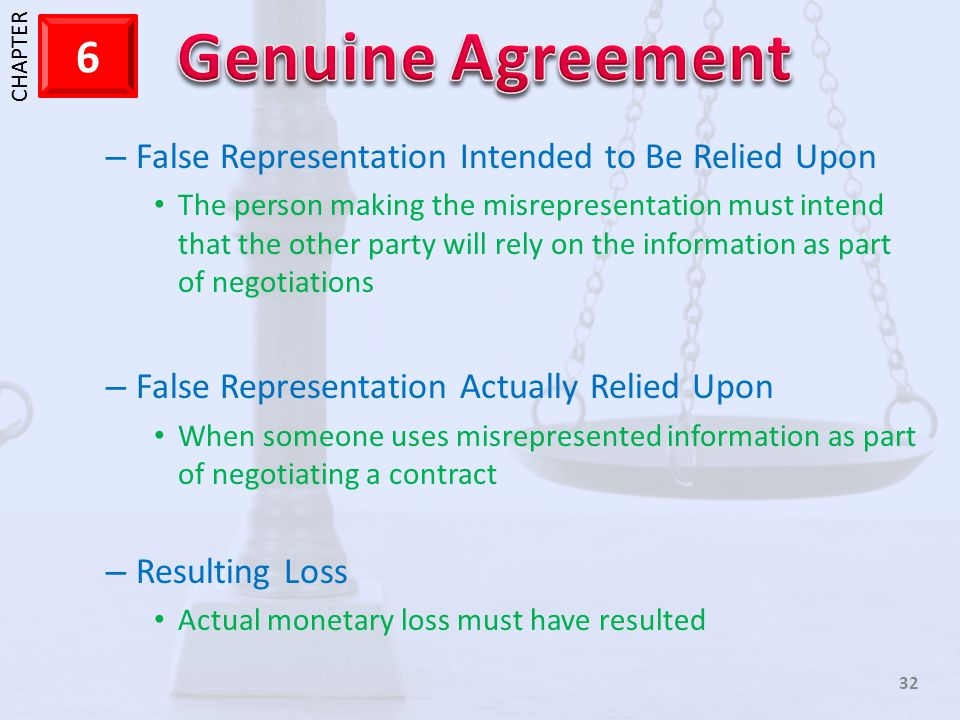 False Representation Intended to Be Relied Upon