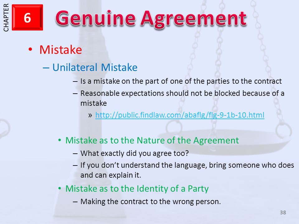 Mistake Unilateral Mistake Mistake as to the Nature of the Agreement