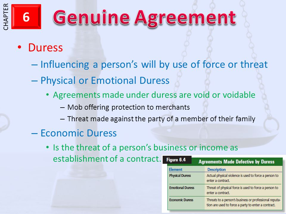 Duress Influencing a person's will by use of force or threat