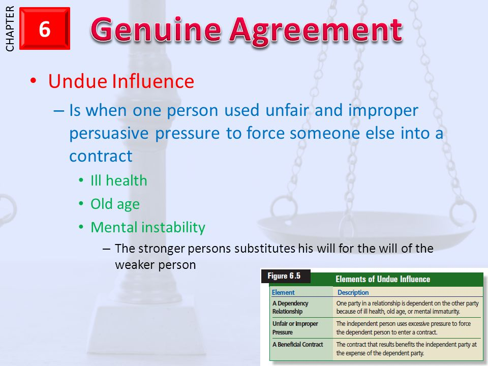 Undue Influence Is when one person used unfair and improper persuasive pressure to force someone else into a contract.