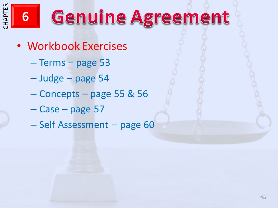 Workbook Exercises Terms – page 53 Judge – page 54