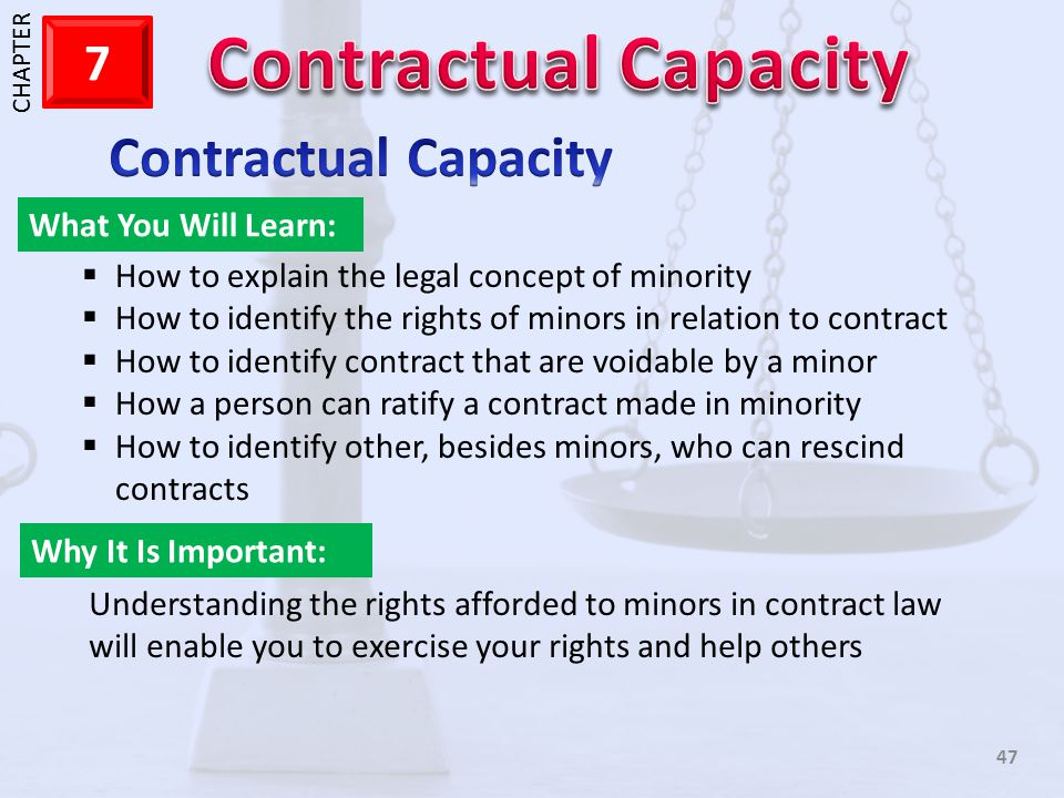 Contractual Capacity What You Will Learn: