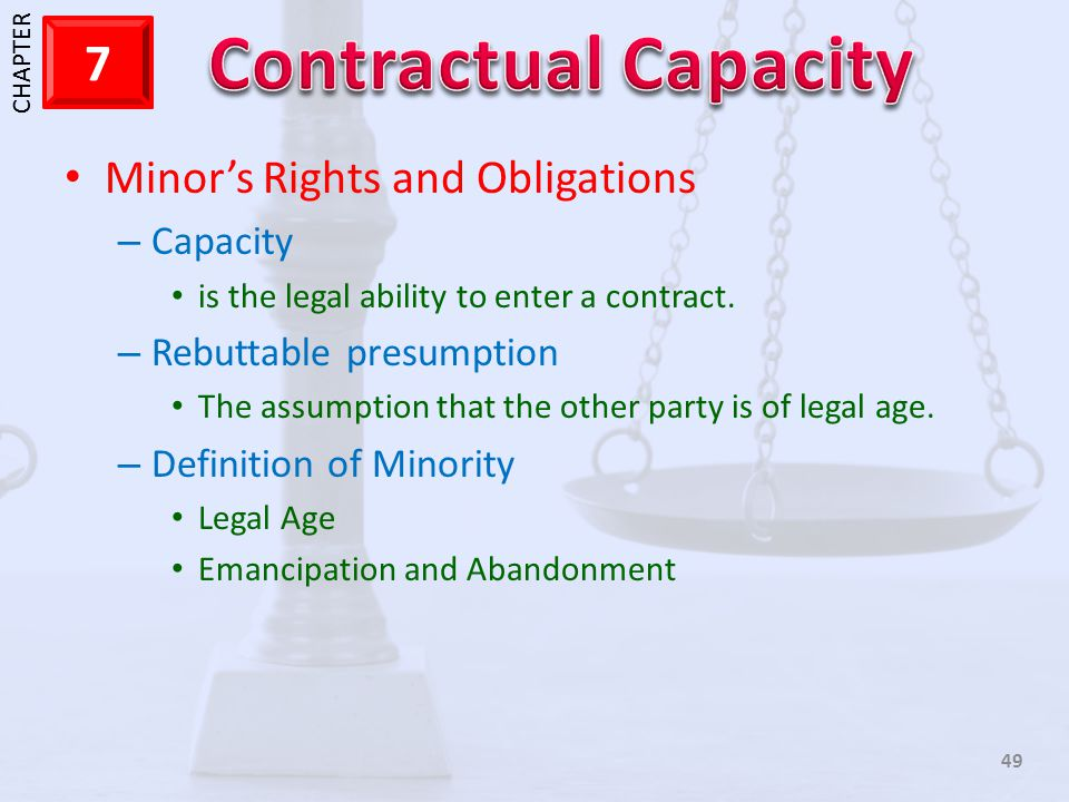 Minor's Rights and Obligations