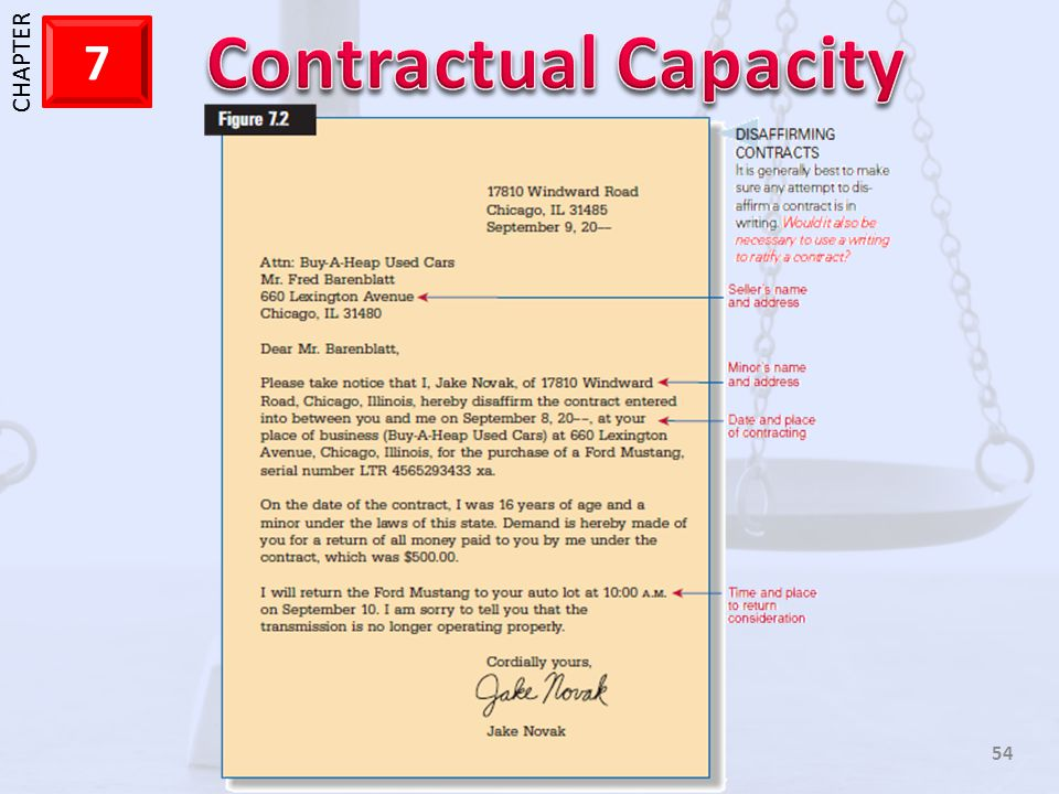 Here is a letter that is from a minor who is disaffirming a contract the he entered into.