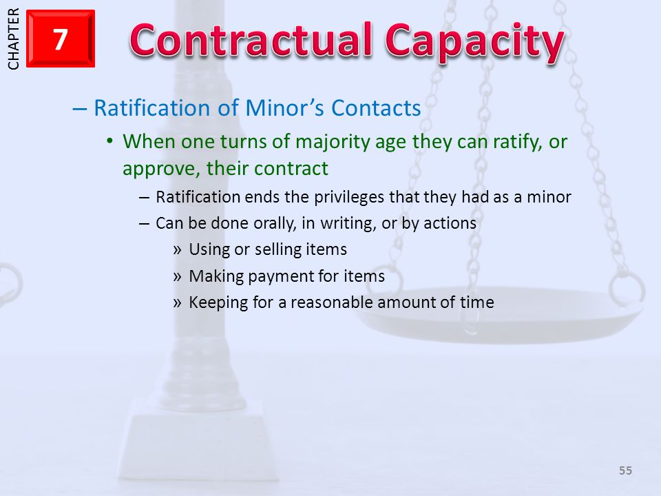Ratification of Minor's Contacts